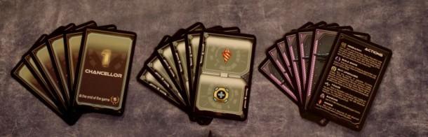 Karty wtrzech rodzajach: kolejność, akcje dodatkowe oraztalia gracza.