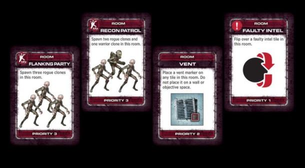 Część kart przedstawia to, naco żołnierze trafić mogą  wpomieszczeniach kompleksu...
