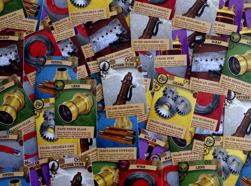 Mrowie kart prawdziwie steampunkowych surowców.